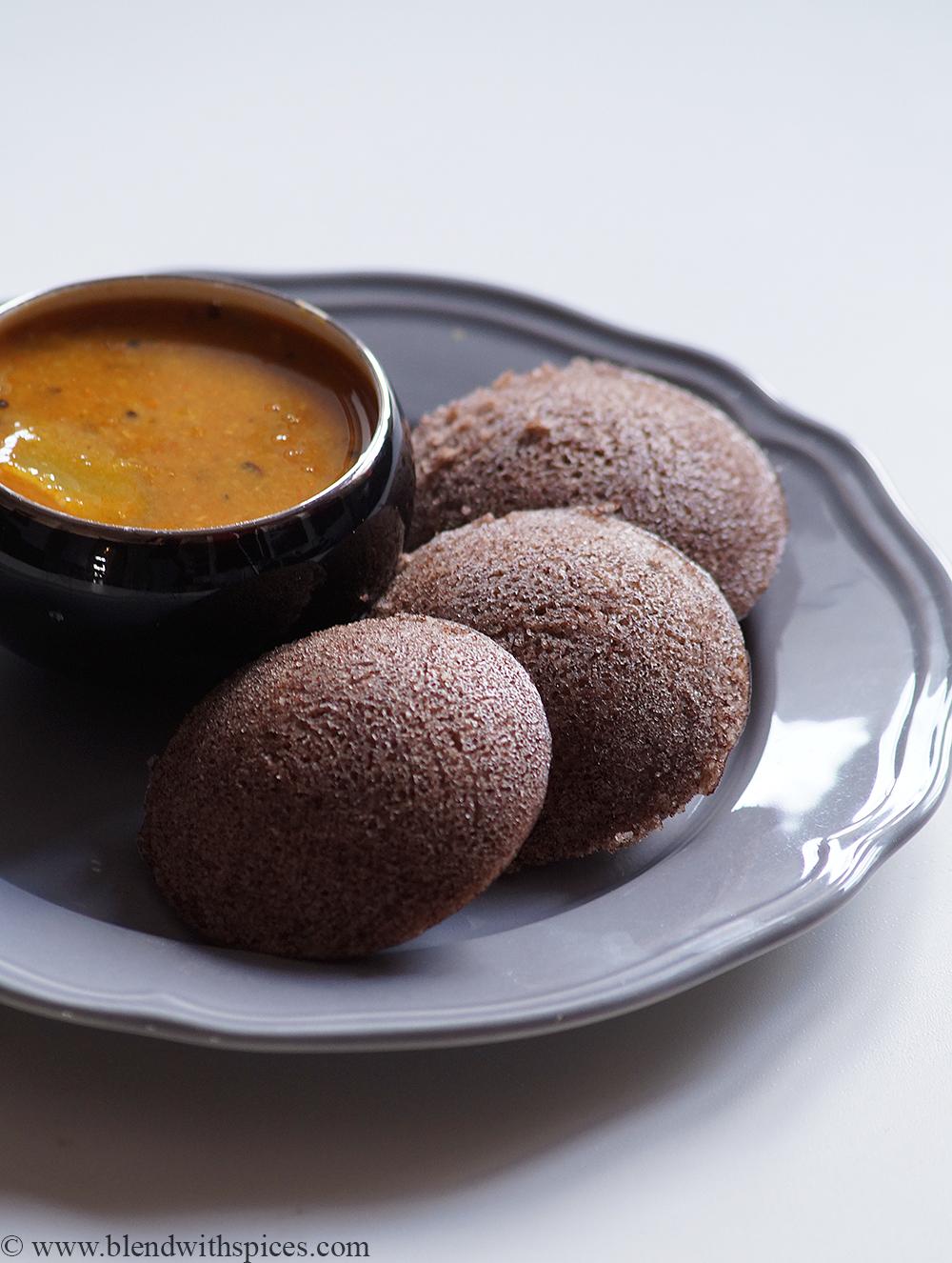Instant ragi rava idlis with sambar