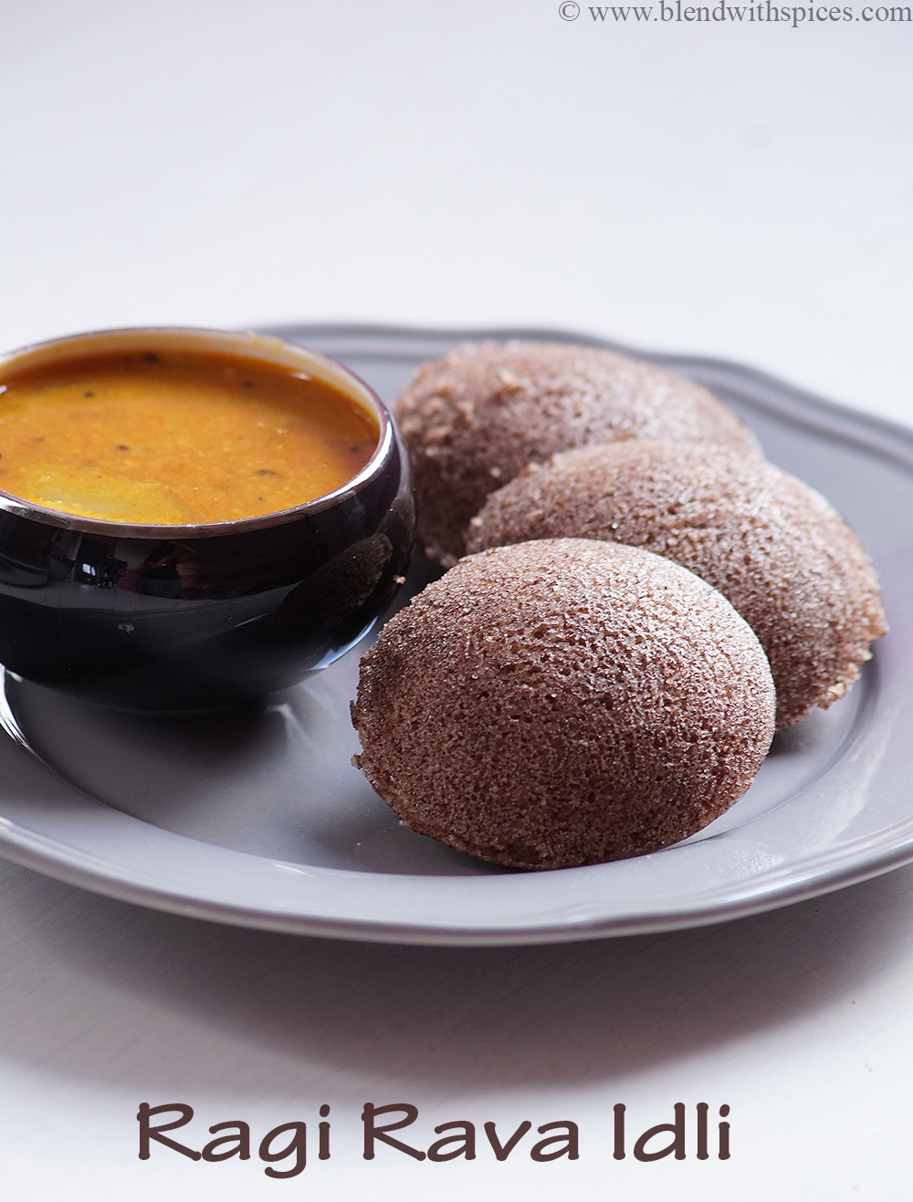 A plate of soft ragi idli with sambar