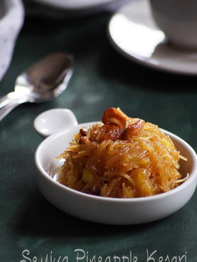 Semiya Pineapple Kesari Recipe – Vermicelli Pineapple Halwa Recipe – Ugadi Recipes
