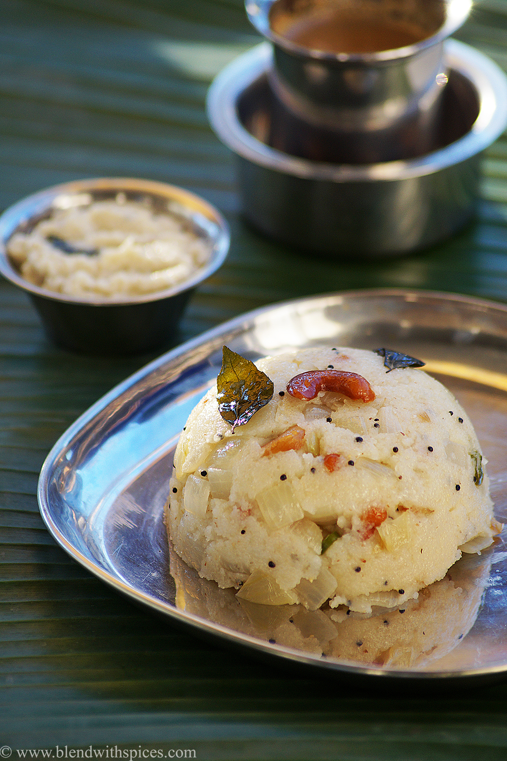 A plate of South Indian rava upma wth coconut chutney and filter coffee