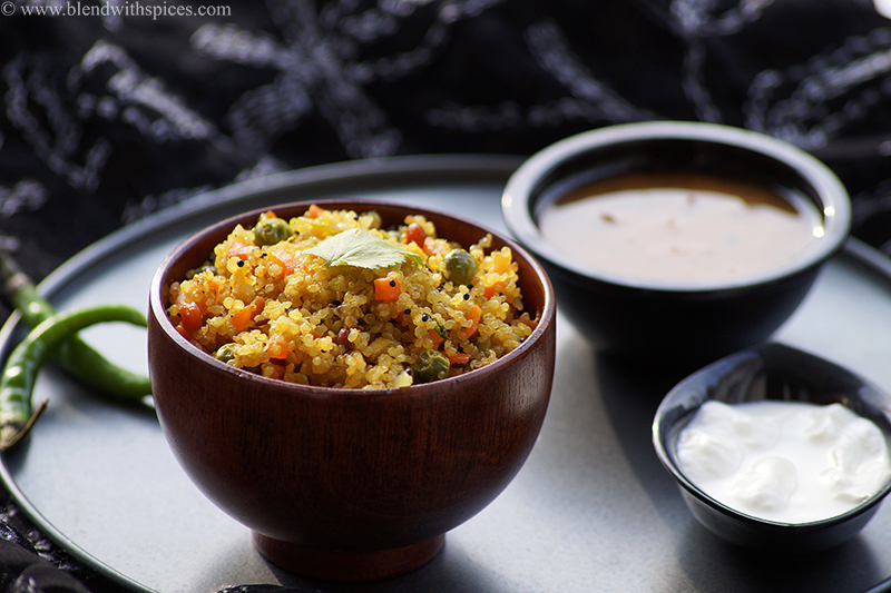 vegan Indian quinoa upma with vegetables and served with south Indian sambar