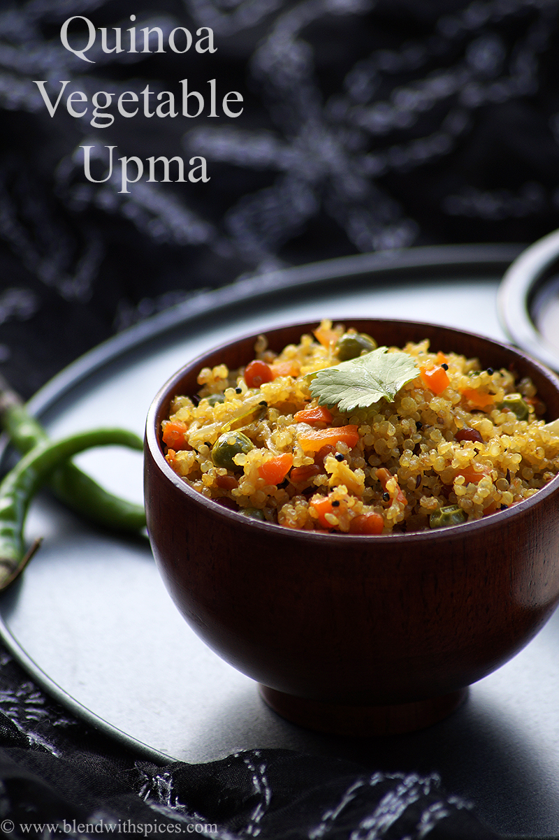 vegetable quinoa upma garnished with coriander leaves