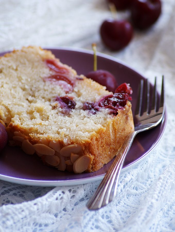 Eggless Cherry Almond Cake Recipe {Video}