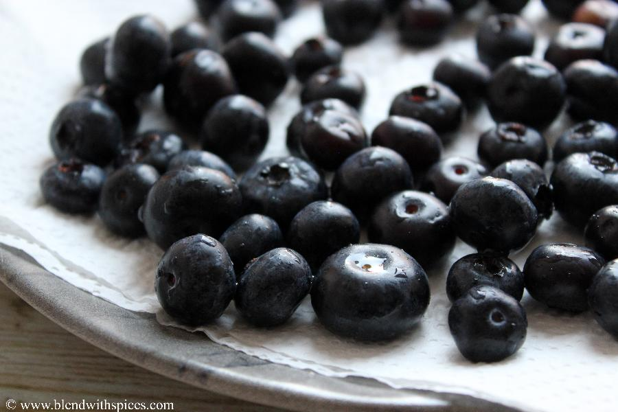 washed blueberries